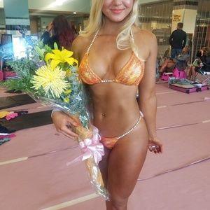 Orange/Yellow Competition Bikini Suit Microcut